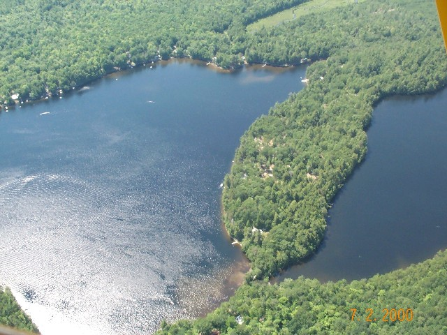 An oblique aerial view of Lower Springy Pond (on left) and Middle Springy Pond (on right) on 07-02-00.