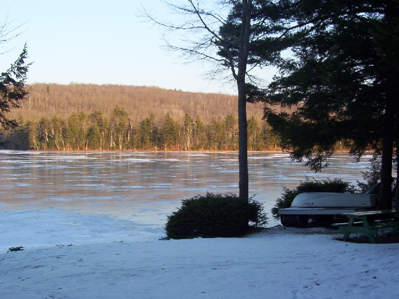 A southeasterly view of Lower Springy Pond on December 08, 2002.